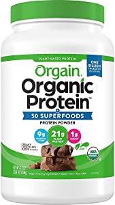Orgian Organic Protein and Superfoods Plant Based Powder, Creamy Chocolate Fudge, 2.64 lb