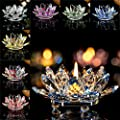 Home Decor Candleholder,Crystal Glass Lotus Candle Holders Creative Decoration for Home Decoration, Votive Activity, Wedding, and Gift