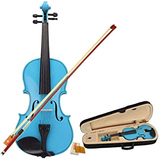4/4 Full Size Acoustic Violin Hot Sale Sky Blue With Case + Bow + Bridge + Rosin For Practice, Studio, Or Stage Ideal For ...