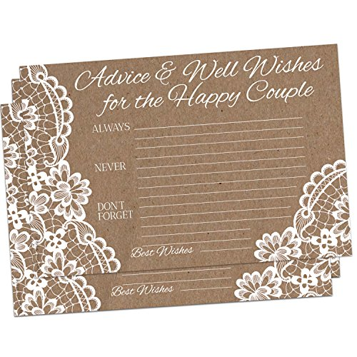 50 Kraft Brown Rustic Wedding Advice Cards for Advice & Well Wishes for the Happy Couple - Bridal Shower Wedding Shower Games Note Card Marriage Best Words of Wisdom
