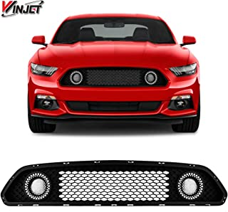 Winjet WJ70-0613-DRL Halo Ring DRL Upper Grille for 2015-2017 Ford Mustang S550 (Eco Boost, V6, GT) Black