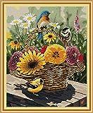 Kits de costura a mano para manualidades, punto de cruz, 14 quilates, estampado DMC, bordado para principiantes, patrón preimpreso (cesta de pájaros y flores, 44 × 53 cm)