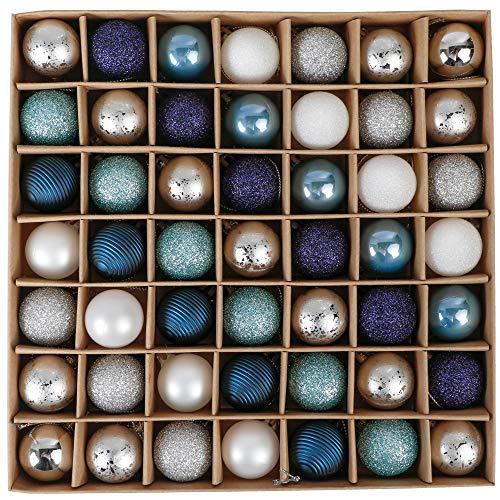 Valery Madelyn Palle di Natale 49 Pezzi 3cm Palline di Natale, Auguri Invernali Argento e Blu Infrangibili Ornamenti Palla di Natale Decorazione per la Decorazione Dell'Albero di Natale