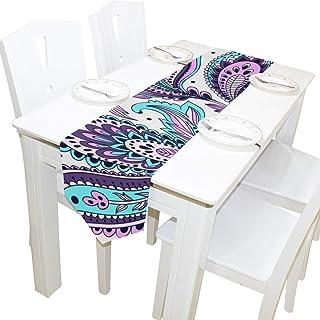 Tizorax - Camino de mesa rectangular lavable con flores azules y moradas (33 x 228 cm)