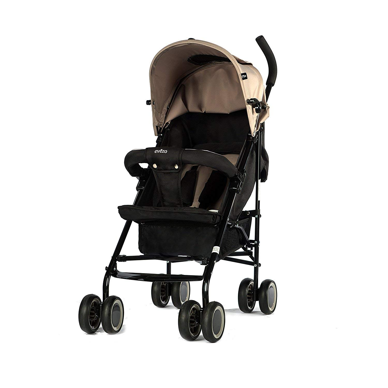 Evezo 2141A Full-Size Ultra Lightweight Umbrella Stroller, Reclining Seat, 5-Point Safety Harness, Canopy, Storage Bin (Taupe Gray) (214-1A)