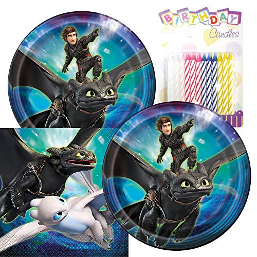 How to Train Your Dragon Themed Party Pack – Includes Paper Plates & Luncheon Napkins Plus 24 Birthday Candles – Serves 16