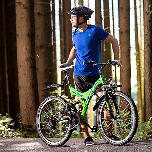 Bergsteiger Memphis 26 Zoll Mountainbike, geeignet ab 150 cm, Dynamo-Licht, StVZO, Shimano 21 Gang-Schaltung, Vollfederung, Jungen-Fahrrad & Herren-Fahrrad - 4