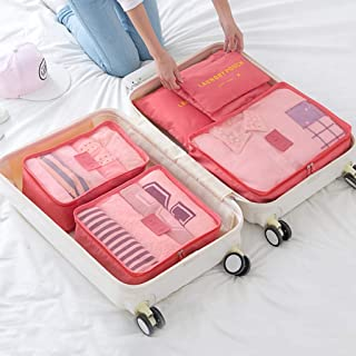 Packing Cubes Set 6-Piece Waterproof Suitcase Organizer,Travel Luggage Organizer Storage Bag Multi-Functional Clothing Pouches QDDSP (Color : E)