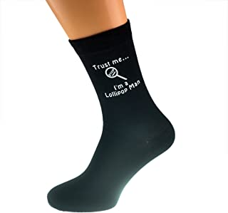 Trust me I'm a Lollipop Man & Lollipop Image Design Mens Black Cotton Rich Socks