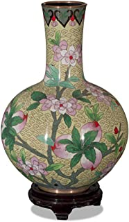 ChinaFurnitureOnline Yellow Peking Cloisonne Vase with Stand, Yellow