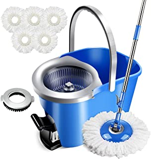 Spin Mop & Foot Pedal Bucket with 5 Microfiber Heads and 1 Floor Brush 8L Mop with Bucket for Floor Cleaning Masthome