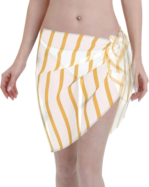 Marigold Yellow Pinstripe on White Women Chiffon Beach Cover ups Beach Swimsuit Wrap Skirt wrap Bathing Suits for Women