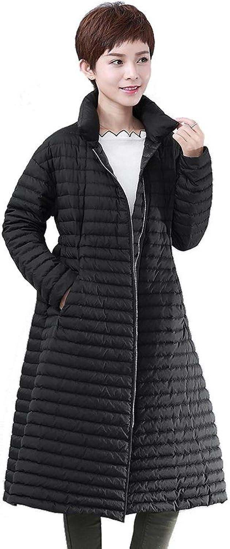 Women'S Down Jacket Zipper Long Sleeve Ultra Thickened Lightweight Outwear Warm Windproof Parkas