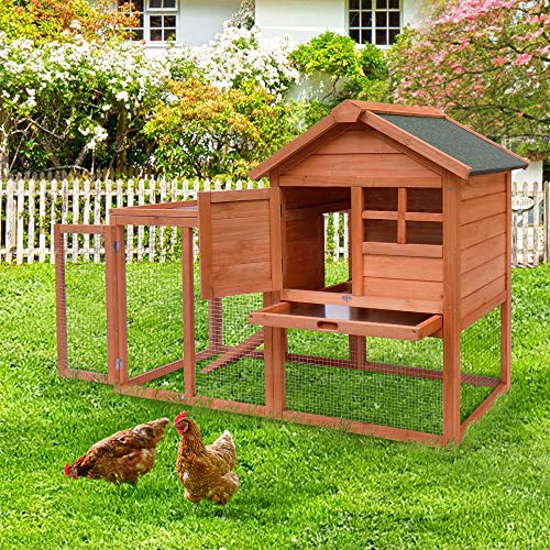Merax Rabbit Hutch Indoor and Outdoor Bunny Cage 2 Story Pet House Chicken Coop Poultry Cage with Removable No Leakage Tray (Natural Wood)
