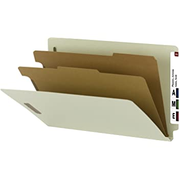 """Smead 100% Recycled End Tab Classification Folder, 2 Dividers, 2"""" Expansion, Legal Size, Gray/Green, 10 per box (29802)"""
