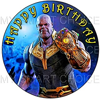 7.5 Inch Edible Cake Toppers – Avengers Infinity War: Thanos Themed Birthday Party Collection of Edible Cake Decorations