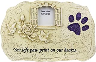 JHB Dog Memorial Stone, Indoor Outdoor for Garden Backyard Marker Dog Tombstone,Photo Frame and Shining paw Print- Loss of Pet Gift (Light Yellow)