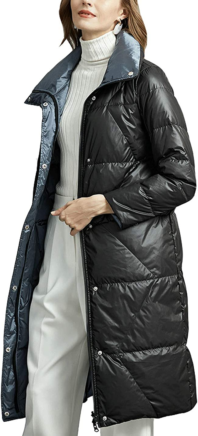 Hongsui Women's Max 48% OFF Thickened Down Jacket Warm Zip 5 ☆ popular Long Double-sided