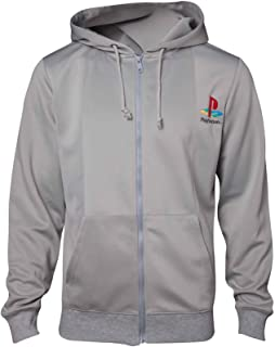 Playstation Hoodie Ps1 Retro Gamer Console Official Mens Grey Zipped