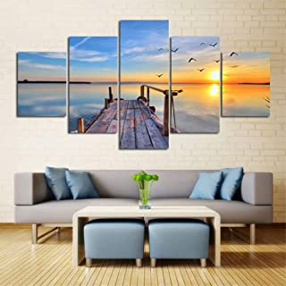 5 Panels Big Pictures Canvas Wall Art Sea View Modern Prints Home Decor Decals Posters Paintings For Living Room Decorations Wall Decor Wooden Framed -Seagull Wooden Bridge At Dusk Picture Art