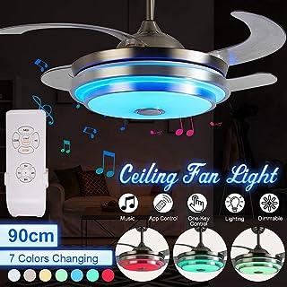 OMGPFR Moderno Luces de Techo con luz de Ventilador Moderno Regulable Lámpara de Techo con Ventiladores LED Altavoz de música Bluetooth Araña De Luz para casa Sala Comedor Dormitorio