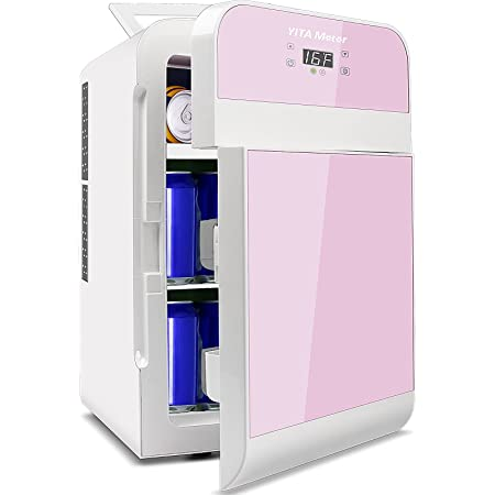 YITAMOTOR 20 Liter AC/DC Powered Double Door Portable Mini Fridge for Car, Home, Office, Bedroom, Dorm - Compact Refrigerator with Digital Temperature Control (Light Pink)