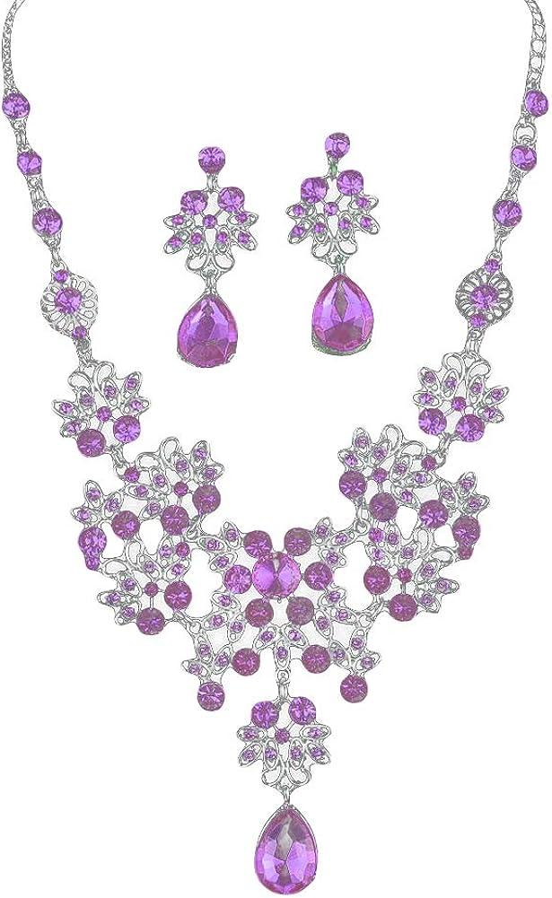 ✿҉͜ ✿Infgreate-Prevent Allergy Earrings,Easy to Wear Earrings for women Gift,Lady Rhinestone Butterfly Teardrop Dangle Bib Necklace Stud Earrings Jewelry Set - Purple✿҉͜ ✿