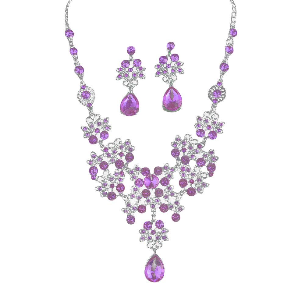 xxiaoTHAWxe Lady Rhinestone Butterfly Teardrop Dangle Bib Necklace Stud Earrings Jewelry Set for your Lovers, Family, Friends, Christmas Festival, Valentine Birthday, Party Gifts Purple