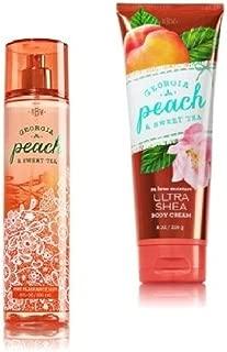 Bath & Body Works - Signature Collection – Georgia Peach & Sweet Tea- Gift Set- Fine Fragrance Mist & Ultra Shea Body Cream