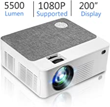 "Upgraded Mini HD Projector with 5500 Lux Full HD 1080P 200"" Video Projector, Home & Outdoor Movie Projector Compatible with Fire TV Stick, Smartphone, HDMI,VGA,AV and USB"