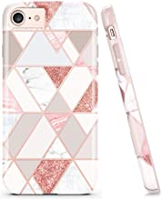 DOUJIAZ Compatible with Bling Glitter Sparkle Marble Design Clear Bumper Glossy TPU Soft Rubber Silicone Cover Phone Case for iPhone 7 iPhone 8 iPhone 6 6S(Rose Gold Grid)