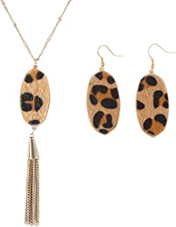 Long Y Leopard Necklace Bohemia Fringe Tassel Necklace with Boho Leopard Earrings for Women and Girls