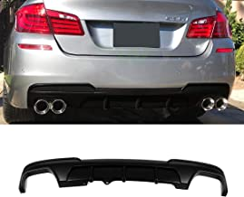 Fandixin F10 Diffuser, FRP MP Style Rear Bumper Diffuser Lip Quad Exhaust for BMW 5 Series F10 M Sport (Matt Black)