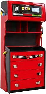 CilekRace Car Dresser W/ ShelvesGTS 4 Drawer ChestChildrens Extra Storage Dresser Red