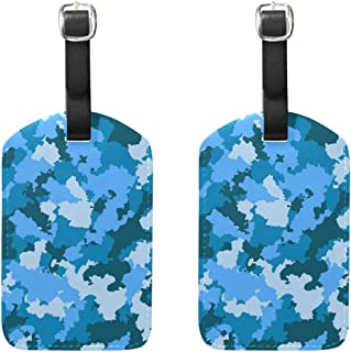 MASSIKOA Blue Camouflage Cruise Luggage Tags Suitcase Labels Bag,2 Pack