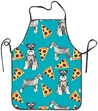 Eco-Friendly Schnauzers Dog Pizzas Adjustable Bib Apron Waterdrop Resistant Cooking Kitchen Aprons for Women Men Chef