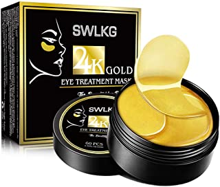 Under Eye Patches 24K Gold Collagen Eye Mask for Lightening Dark Circles and Eye Bags Reducing Wrinkles & Puffiness Gel Pads 30 Pairs