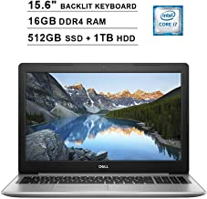 2019 Dell Inspiron 15 5570 15.6 Inch Touchscreen FHD Laptop (Inter 4-Core i7-8550U up to 4.0GHz, 16GB DDR4 RAM, 512GB SSD (Boot) + 1TB HDD, Intel HD Graphics 620, Backlit KB, DVD, Win 10) (Renewed)