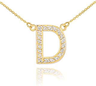 Dainty 14k Yellow Gold Diamond Letter D Necklace, 18