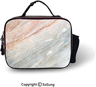 Marble Insulated Lunch Cooler Bag Onyx Stone Textured Natural Featured Authentic Scratches Artful Illustration Decorative Fashion model Lunch Tote,10.6×8.3×3.5 inch,Peach Pale Grey