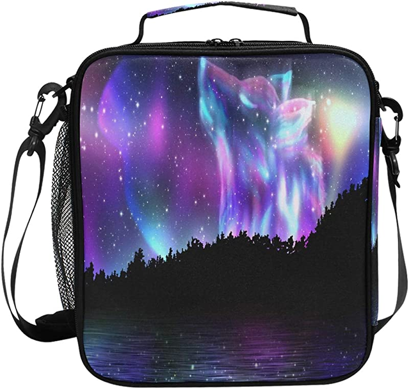JOKERR Lunch Bag Wolf Galaxy Lunch Box Insulated Neoprene Zip For Adult Men Lady Outdoor Bag Picnic Camping Travel
