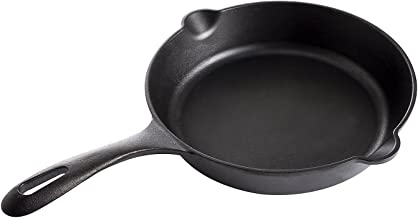 Medium Preseasoned Cast Iron Skillet by Victoria, 10-inch Round Frying Pan with Long Handle, 100% Non-GMO Flaxseed Oil Sea...