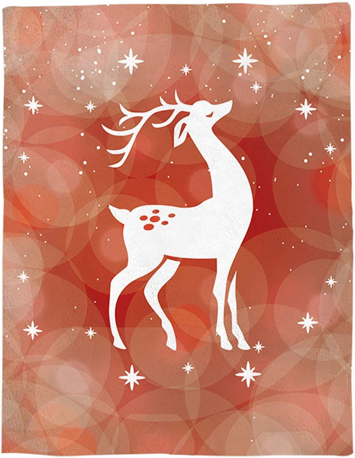 YEHO Art Gallery Flannel Fleece Bed Blanket Soft ThrowBlankets for Adult Kids Girls Boys,The Shadow of Christmas Deer orange Pattern,Lightweight Blankets for Bedroom Living Room Sofa Couch,49x59inch