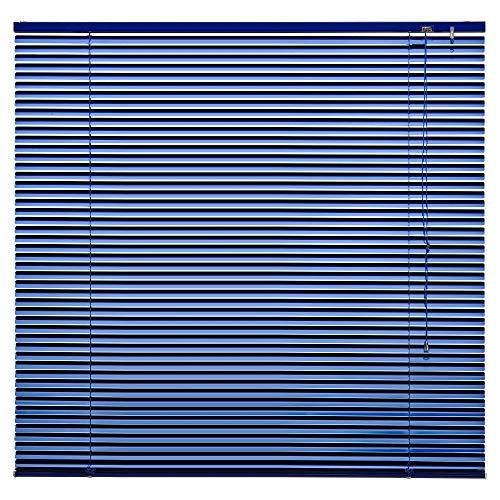 Alu Jalousie Aluminium Jalousette Klemmfix ohne Bohren Tür Fenster Rollo Lamellen Vorhang 10 Farben Breite 50 cm bis 240 cm Länge 130 cm 160 cm 220 cm Metall Klemmträger (100 x 130 cm Blau)