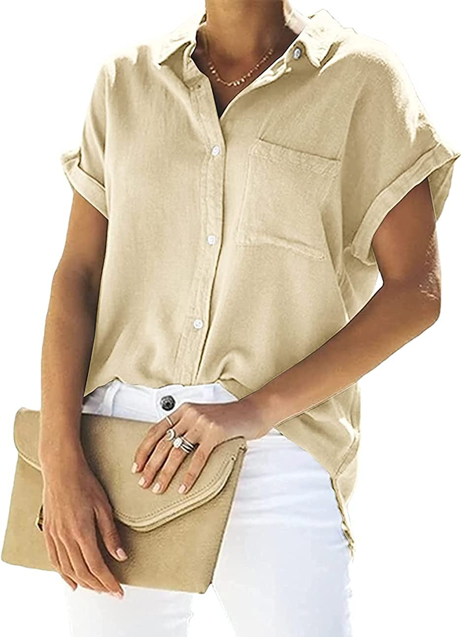 Womens V Neck Button Down Cotton Linen Blouse Shirts Loose Fit Casual Work Tops with Pockets