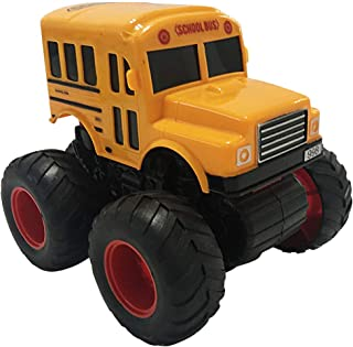 ArtCreativity Yellow School Bus Toy with Black Monster Truck Tires, Push n Go Toy Car for Kids, Durable Plastic Material, Best Birthday Gift for Boys, Girls, Toddlers