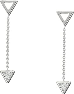 Sterling Silver Geometric Triangles Drop Earrings