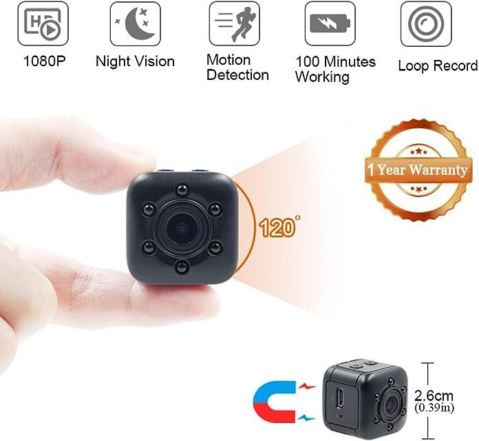 Mini Cámara Espía LXMIMI 1080P Mini Cámara Oculta Portátil Gran Angular con Detección de Movimiento y Visión Nocturna Cámara de Video Full HD Cámara DV Video para Vigilancia en Interiores/Exteriores