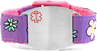 StickyJ USA Girls Pink and Purple Flowers Sport Strap Medical Alert Bracelet