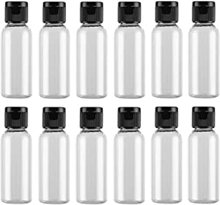 12 Pack Plastic Travel Pour Bottle with Flip Lid Empty Container Jar for Sample Emollient Shower Gel Emulsion Cosmetic Water size 30ML/1OZ